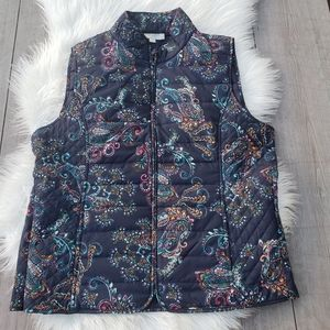 Talbots Quilted Paisley Puffer Vest Lg *Modified